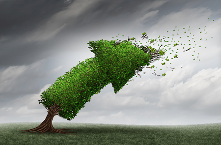 economic forecast: Market trends and forecasting business direction concept as an arrow tree being bent by a violent storm as a financial crisis metaphor with 3D illustration elements.