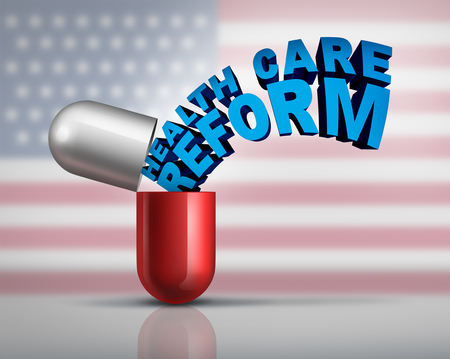 American health care reform and federal government medical insurance coverage symbol as an open pill capsule with text emerging out as a metaphor for national affordable medicine as a 3D illustration. Фото со стока