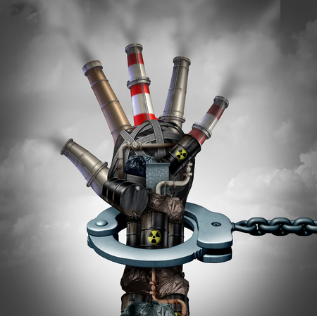 residuos toxicos: Illegal pollution environmental protection concept as a group of toxic waste and dirty garbage with industrial smoke stacks shaped as a human hand in a handcuff for polluter justice with 3D illustration elements.