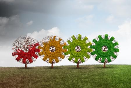 Economisch herstel concept zakelijke groei metafoor als een groep van het herstellen van de bomen in de vorm van een tandwiel of radertje als financieel revitalisering metafoor met 3D illustratie elementen. Stockfoto