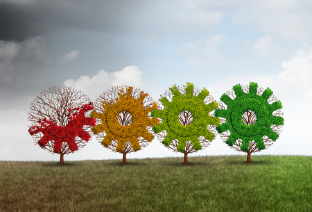 Economic recovery concept business growth metaphor as a group of recovering trees shaped as a gear or cog as a financial revitalization metaphor with 3D illustration elements. Stock Photo
