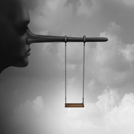 psicologia infantil: Lying to children and trust psychology of lies to kids concept as a playground child swing hanging from a long nose from a lier adult or parent as an indoctrination or brainwashing symbol with 3D illustration elements.