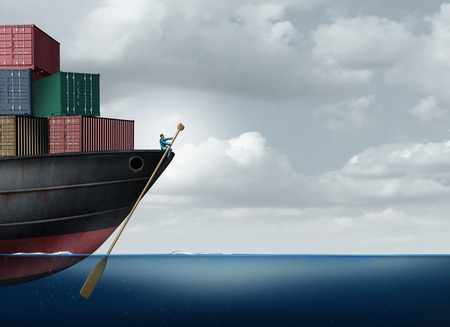 industry: Shipping cargo leadership as a businessman or logistics manager navigatying a freight ship using an oar as an import export management leader metaphor with 3D illustration elements.