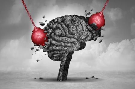 Maux de tête et la douleur de la migraine douloureuse concept de marteler comme un cerveau de tête humaine en ciment détruits ou rénovés par un groupe d'objets de démolition balle comme un symbole pour le changement personnel comme une illustration 3D.