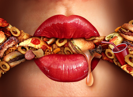 Eating addiction concept consuming junk food as a nutrition and dietary health problem concept as red lips on on an excessive huge group of unhealthy fast food and snacks with 3D illustration elements.