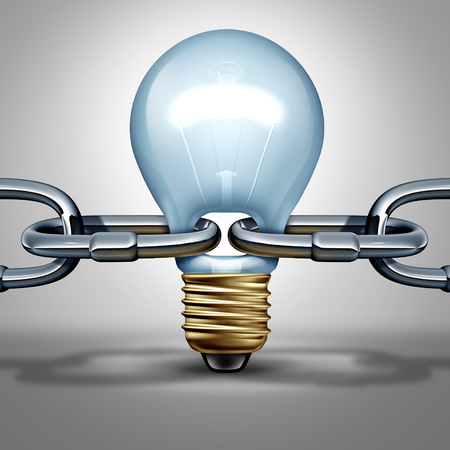 strong: Idea chain concept as an innovation strength and inventive intelligence connection icon or reliable thinking network connection ling as a light bulb shaped as a connector as a 3D illustration.