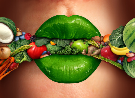 Eating healthy concept as green human lips biting into a group of fruit and vegetables as a nutrition concept for good dietary health food choice in a 3D illustration style.