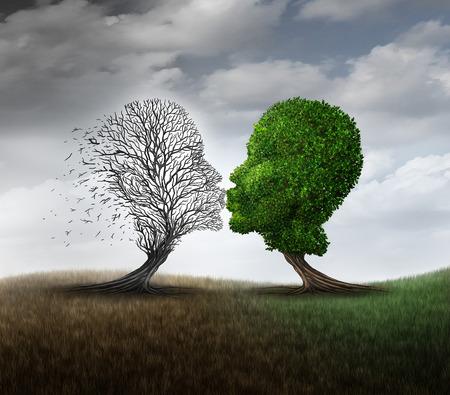 Tote Liebe Konzept und eine Beziehung Verlust Symbol als grünen Baum trauernde eine andere Pflanze zu küssen, die als psychologische Trauer Stimmung Metapher mit 3D-Darstellung Elemente gestorben ist.
