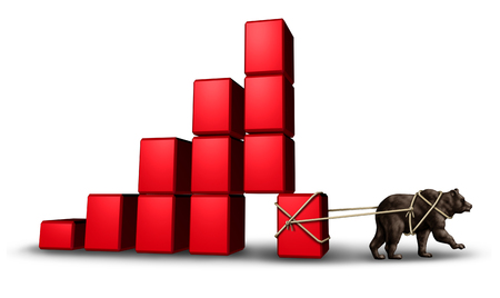 economy: Bear economy and economic stress as a financial concept with a group of blocks shaped as a finance chart going down as investor doubt and lack of confidence in stock trading pulling investment away with 3D illustration elements. Stock Photo