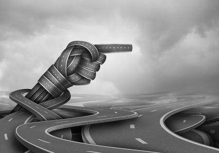Deskundig advies concept en de ervaren wijsheid symbool als een groep verwarde road paden met een wijzende richting handgebaar als een zakelijk succes metafoor voor het vinden van de weg vooruit. Stockfoto