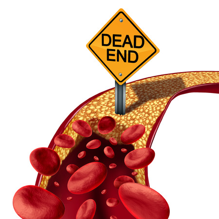 Blocked artery medical concept as a symbol of blood cell flow stopped due to an accumulation of fat and cholesterol as a traffic sign with dead end text.as a 3D illustration.