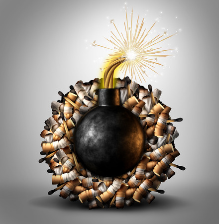 Smoking time bomb danger concept as a group of cigarette and matches burning with a lit explosive inside as a metaphor causing lung cancer and lethal health risks as a 3D illustration.