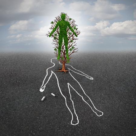 Het leven na de dood concept en het leven na de dood symbool of verlenging hoop metafoor als een boom in de vorm van een mens groeit uit een asfalt vloer met een krijttekening van een dode persoon in een 3D-afbeelding stijl.