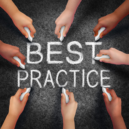 metaphor: Best practice business concept as a group of hands drawing text on an asphalt street as a development metaphor for excellence in method in a 3D illustration style. Stock Photo