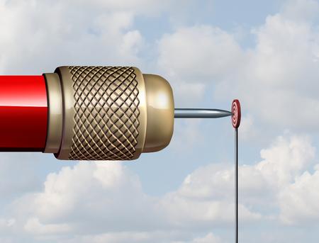 Kleine Ziel-Konzept und zurückhaltend oder begrenzte Geschäftsgelegenheit wie ein riesiger Dart ist ein sehr kleines Ziel als 3D-Darstellung zu schlagen.
