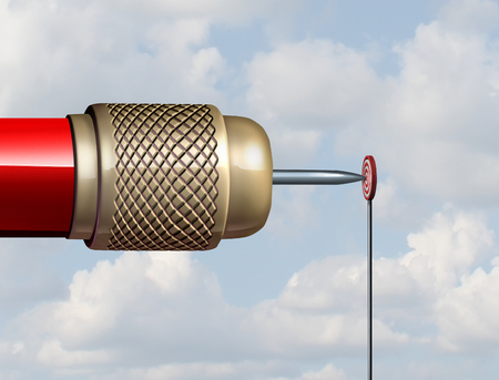 Małe koncepcja cel i przytwierdzone lub ograniczone możliwości biznesowych jako ogromny Dart uderzanie bardzo mały cel jako ilustracja 3D.