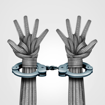 enforcing the law: Street crime and illegal drunk driving and speeding car violation on the road or impaired driver symbol as a group of highway paths shaped as two innocent or guilty hands locked in police handcuffs as a 3D illustration.