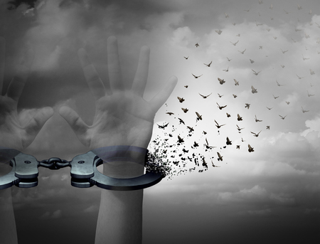 Libero dal concept catene la libertà e il simbolo di riscatto come mani umane in manette apertura di essere trasformati in uccelli che volano come una liberazione e sfuggire metafora con elementi illustrazione 3D. Archivio Fotografico