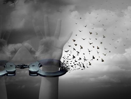 Vrij van concept ketenen vrijheid en verlossing symbool als menselijke handen bij het openen van handboeien omgetoverd tot vliegende vogels als een bevrijding en ontsnappen metafoor met 3D illustratie elementen.