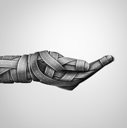 blockade: Transportation safety hand and highway assistance and transport support or driving drunk help metaphor with a group of highway or streets shaped as a human holding gesture as a 3D illustration. Stock Photo