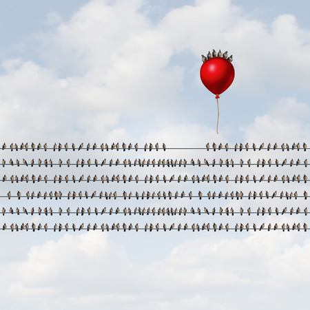 departing: Group venture and new startup organization concept as many birds perched on wires with a risk taking team riding a balloon upward as a new business enterprise launch with 3D illustration elements. Stock Photo