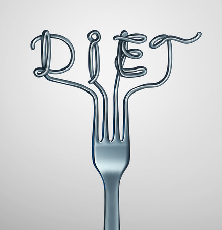 starving: Diet fork symbol as dinner utensil shaped as text representing dieting and nutrition or anorexia and bulimia eating disorder as a 3D illustration.
