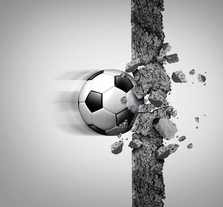 Power Soccer e la forza del calcio europeo come una palla di attrezzature sportive sfondare e la frantumazione di un muro di cemento come una vittoria e più forte metafora campione con elementi illustrazione 3D.