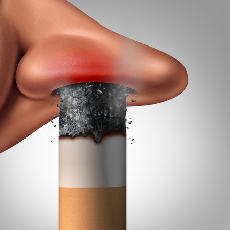 Breathing cigarette smoke and passive smoking health danger concept as a burning tobacco product inside the nostril of a human nose with 3D illustration elements.