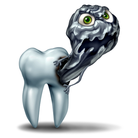 Tooth cavity monster concept as a decaying character representing dental rot emerging out as a dentist health and dental care symbol for oral hygiene risk and the danger of growing cavities on teeth as a 3D illustration.