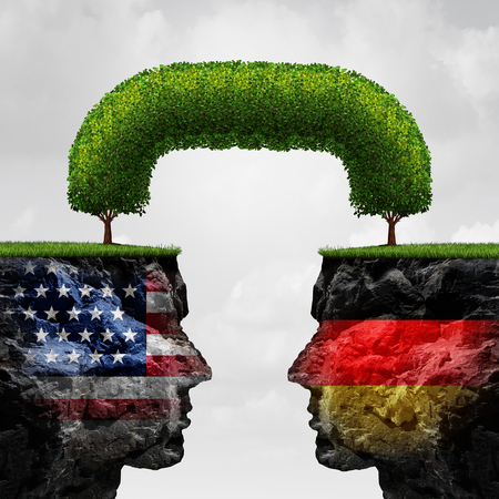 treaty: American German cooperation or Germany United states partnership and international trade and political agreement as two cliffs united together by a connected tree with 3D illustration elements.