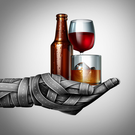 Drunk driving and drinking on the highway under the influence as a group of roads shaped as a hand holding alcoholic drinks as beer wine and whiskey as a transportation criminal offence as a 3D illustration.