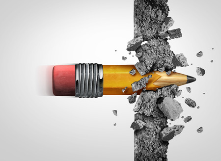 Education access concept and school learning success as a pencil representing training and tutoring breaking through a cement wall overcoming academic obstacles with 3D illustration elements. Stock Photo
