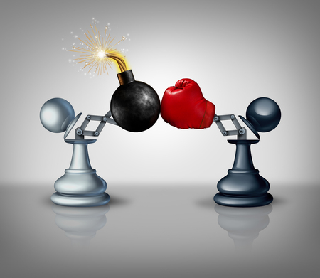 strategies: Aggressive strategy concept as two open chess pawns with a boxing glove fighting with an explosive bomb as a business competition metaphor for strategic advantage and prepared to win as a 3D illustration.