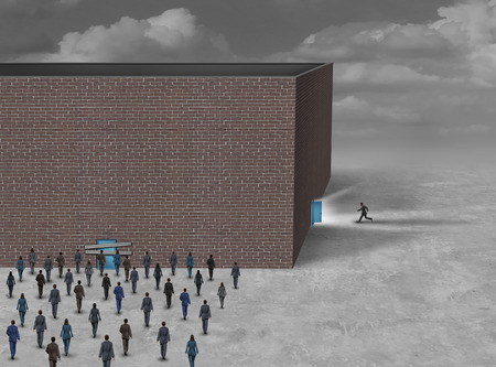 sideway: Using the side door business concept as a group of people blocked or locked out of a building with a closed entrance with another person running into a sideway opened gate with 3D illustration elements.