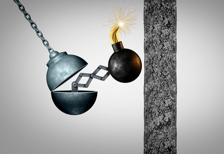 Improve concept and increase efficiency as an open wrecking ball with a lit bomb ready to explode and break a cement wall with 3D illustration elements.