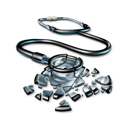 symbol: Broken health care concept and damaged medical insurance patient plan as a shattered fragmented doctor stethoscope on a white background as a 3D illustration. Stock Photo