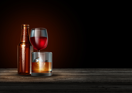 Alcohol on a bar on a black background as a bottle of beer wine and a glass of hard liquor as whisky or scotch as a drinking or alcoholism concept as a 3D illustration.