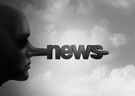 Fake news concept and hoax journalistic reporting as a person with a long liar nose shaped as text as false media reporting metaphor and fraudulent deceptive disinformation with 3D illustration elements.