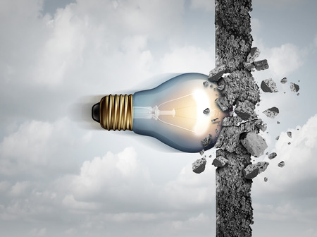 Power of ideas and unlimited creative strength as a light bulb breaking through a cement wall as a creativity force metaphor or business concept for thinking innovation with 3D illustration elements.