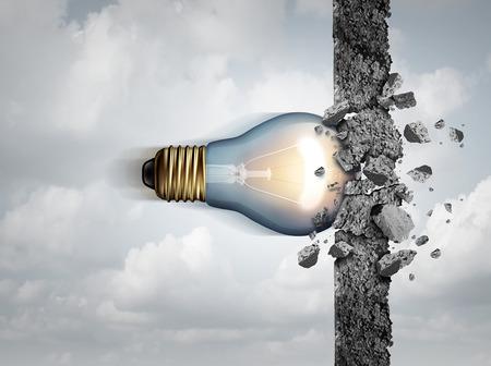 Poder de las ideas y la fuerza creativa ilimitada como una bombilla se rompe a través de una pared de cemento como una metáfora fuerza de la creatividad o el concepto de negocio para pensar la innovación con elementos de ilustración 3D.