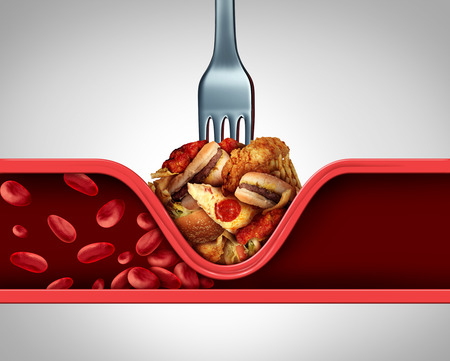 Poor circulation food and cause of clogged artery or human vein as a fork with greasy fast food causing narrowing of arteries blocking blood flow to the human heart and organs with 3D illustration elements.