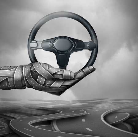 Road assistance concept and auto insurance symbol as a group of highway and streets shaped as a hand holding a car steering wheel with 3D illustration elements.