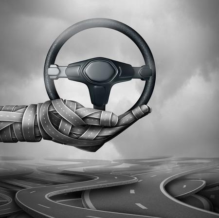 Road hulp concept en de autoverzekering symbool als een groep van de snelweg en straten in de vorm van een hand die een auto stuurwiel met 3D-illustratie elementen. Stockfoto - 70418227