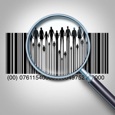 Customer search and searching for client data or purchaser information business concept as a magnifying glass focused on a retail product bar code showing people and the public buyers as a 3D illustration. Stock Photo