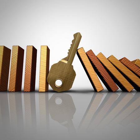 derrumbe: solución de negocio clave de detener el efecto dominó o símbolo de seguridad como un conjunto de fichas de dominó cayendo con un símbolo de protección de metal como una metáfora del éxito de control de riesgos para los servicios de consultores confiables como una ilustración 3D. Foto de archivo