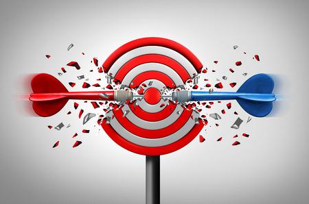 함께 목표 도달 3D 그림으로 우승 전략 또는 오른쪽 및 왼쪽 bypartisan 지원 은유로 일반적인 대상의 핵심을 성공적으로 타격하는 두 개의 다른 다트와 비