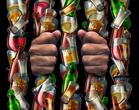 medical illustration: Alcohol addiction and trapped by alcoholism concept as the hands of a drunk prisoner holding a group of liquor bottles and glasses shaped as prison bars from a jail with 3D illustration elements.
