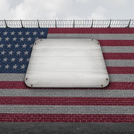 アメリカ合衆国では、3 D イラストレーションとして違法な出入国管理の象徴として空のコピー スペースを持つ習慣の国の境界障壁としてアメリカ合