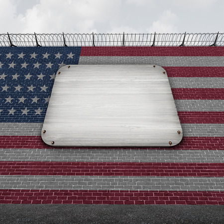 protectionism: United States wall blank sign as an american border concept as a security barricade with a flag of the United States as a customs and country boundary barrier with empty copy space as a symbol for illegal immigration control as a 3D illustration. Stock Photo
