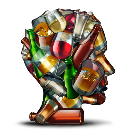 Alcohol psychology and alcoholism concept as a group of beer wine and hard liquor glasses shaped as a a human head as a symbol for an alcoholic disorder and addiction as a 3D illustration.
